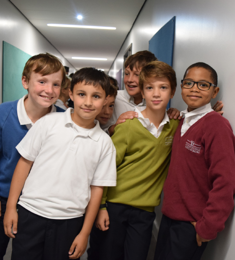 Group of boys in corridor